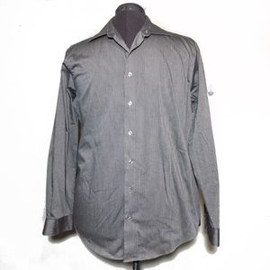 Kenneth Cole Reaction Silver Gray Pinstripe Shirt